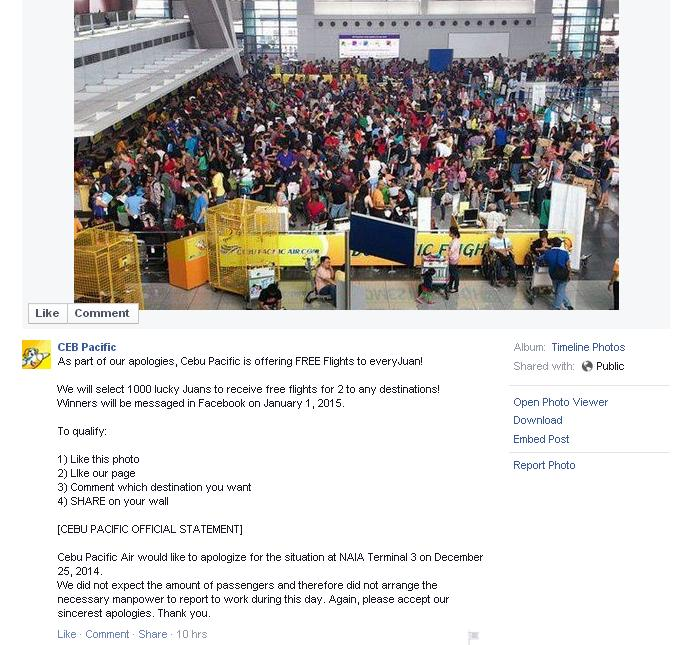 Screenshot taken from Cebu Pacific's fake Facebook account