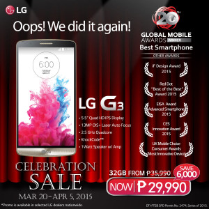 LG G3 holds grand celebration sale, MWC's Best Smartphone at P6,000 off until April 5