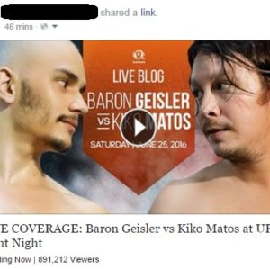 New Facebook spam features Baron Geisler vs Kiko Matos URCC fight