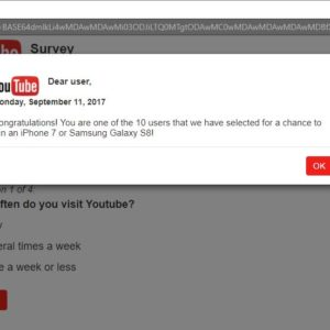 YouTube Fake Survey Page
