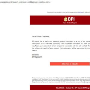 BPI phishing attack continues with new variant