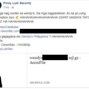 Pinoy Lulzsec hacks Wendy's Philippines, dumps customer database online